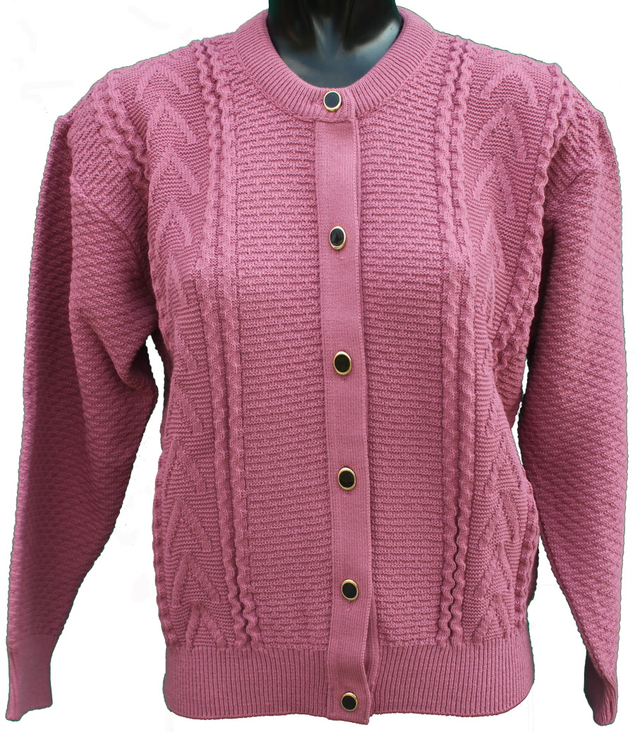 Ladies long sleeve knitted Cardigan in Dusky pink by Capers