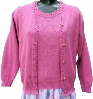 6e0e7fc1d5ea65 Ladies Knitted Twin Set by Merry Gold in Dusty Pink. More images.