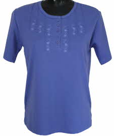 beaumonde button front t-shirt in bluebell