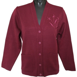 Older ladies long sleeve cardigan in red wine