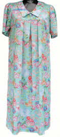 Smock dress in turquoise flower pattern